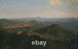 Tableau Peinture Ancienne Huile Romantique XIXème Paysage, Montagne, Volcan