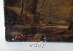 Tableau Peinture Ancienne Huile Toile signé XIXème Paysage, Forêt