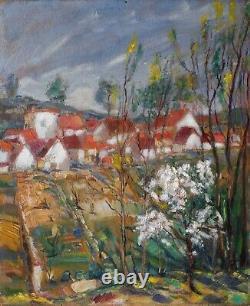 Tableau Peinture Ancienne Huile Village aux maisons toits rouge, paysage