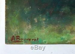 Tableau Peinture Ancienne Huile signé A. BOUVERAT (XX) Paysage, Arbre, Colline