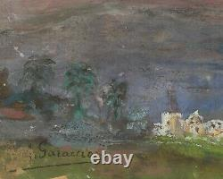 Tableau Peinture Ancienne Huile signé A. GARACCIO (XX) Paysage, Etude Ciel