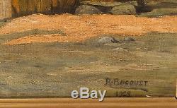 Tableau Peinture Ancienne Huile signé BOCQUET, Paysage, Montagne, Chalet