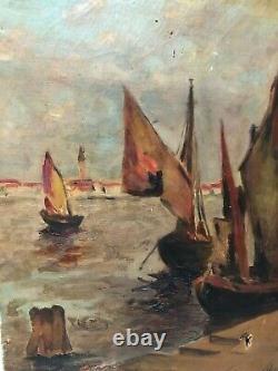 Tableau Peinture Ancienne Huile signé Bateaux, Mer, Marine