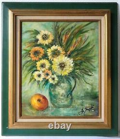 Tableau Peinture Ancienne Huile signé Bouquet de Fleurs, Orange, Vase
