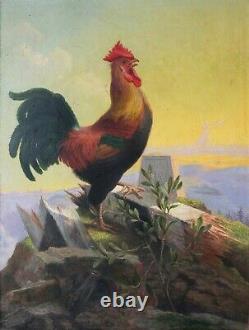 Tableau Peinture Ancienne Huile signé Coq, Animal, Nature Morte, France, Paysage
