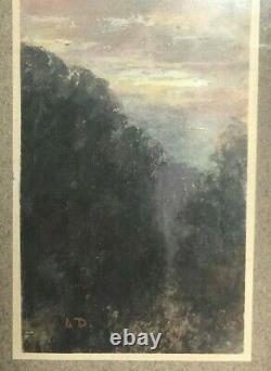 Tableau Peinture Ancienne Huile signé, Coucher de Soleil à la Montagne