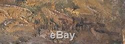 Tableau Peinture Ancienne Huile signé DELATTRE XIXème, Paysage, Croix, Mer