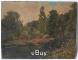 Tableau Peinture Ancienne Huile signé GOUNIN XIXème Paysage, Rivière, Loing