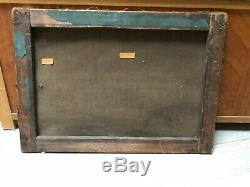 Tableau Peinture Ancienne Huile signé Henri LINGUET, Paysage, Bateaux, Péniche