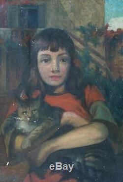 Tableau Peinture Ancienne Huile signé Jules DUPRÉ, Portrait, Fille, Chat