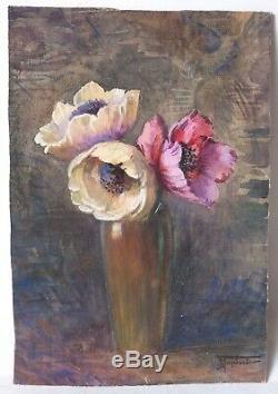 Tableau Peinture Ancienne Huile signé Louis TAPISSIER (1883-), Bouquet de Fleur