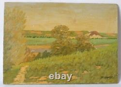 Tableau Peinture Ancienne Huile signé, Paysage, Arbre, Champs, Campagne