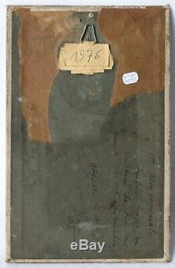 Tableau Peinture Ancienne Huile signé, Paysage, Canal, Paris, Personnage 1910