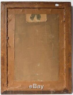 Tableau Peinture Ancienne Huile signé, Paysage, Cascade, Montagne