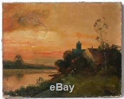Tableau Peinture Ancienne Huile signé, Paysage, Coucher, Soleil, Personnages