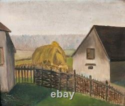 Tableau Peinture Ancienne Huile signé Paysage, Ferme, Foin