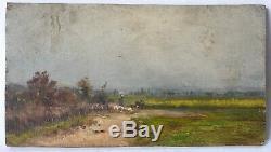 Tableau Peinture Ancienne Huile signé, Paysage, Fermier, Moutons, Champs
