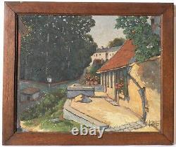 Tableau Peinture Ancienne Huile signé Paysage, Fleurs, Maison