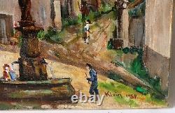 Tableau Peinture Ancienne Huile signé, Paysage, Fontaine, Village, Place