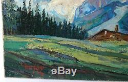 Tableau Peinture Ancienne Huile signé, Paysage, Montagne, Chalet