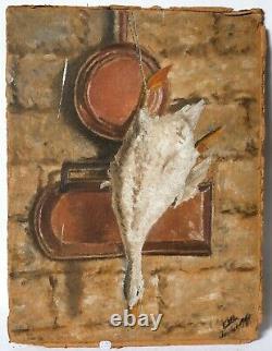 Tableau Peinture Ancienne Huile signé Paysage, Nature Morte, Oie, Arbre