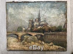 Tableau Peinture Ancienne Huile signé, Paysage, Pont, Seine, Notre-Dame de Paris