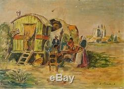 Tableau Peinture Ancienne Huile signé, Paysage, Roulotte, Personnages, Sud