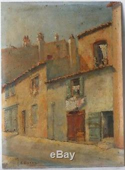 Tableau Peinture Ancienne Huile signé Paysage, St-Tropez, Village, Maison