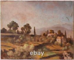 Tableau Peinture Ancienne Huile signé- Paysage, Sud, France, Maisons, Arbre