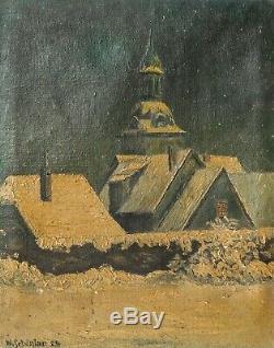 Tableau Peinture Ancienne Huile signé, Paysage, Village, Hiver
