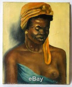 Tableau Peinture Ancienne Huile signé, Portrait, Femme, Africaine, Nu