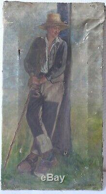 Tableau Peinture Ancienne Huile signé, Portrait, Personnage, Fermier, Paysan