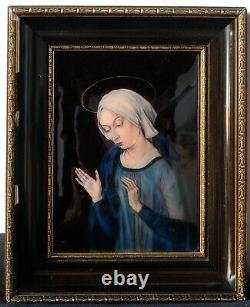 Tableau Peinture Ancienne Huile signé, Religieux, Limoges, Vierge Marie