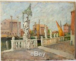 Tableau Peinture Ancienne Huile signé SANTAGOSTINO (1878-1947), Paysage, Venise