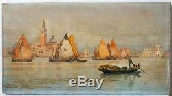 Tableau Peinture Ancienne Huile signé Ugo MARIO (XIX-XX) Paysage, Venise, Marine