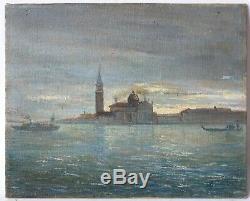 Tableau Peinture Ancienne Huile signé, Venise, Paysage