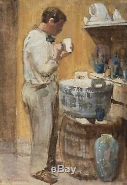 Tableau Peinture Ancienne Huile signé Willem JANSEN (1871-1949), Scène de Genre