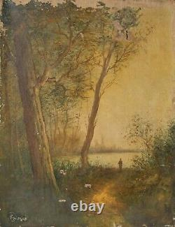 Tableau Peinture Ancienne Huile signé XIXème Paysage, Barbizon, Coucher Soleil