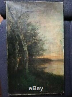 Tableau Peinture Ancienne Huile sur Toile XIXème, Paysage, Arbre, Coucher Soleil