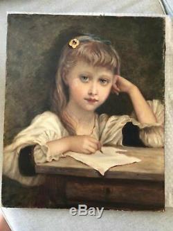 Tableau Peinture Ancienne Huile sur Toile XIXème Personnage, Fille, Ecriture