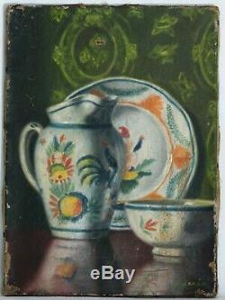 Tableau Peinture Ancienne Huile sur Toile signé, Nature Morte, Vaisselle
