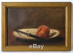 Tableau Peinture Ancienne Nature Morte, Pommes Huile signé DESGRANGES