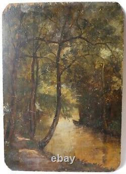 Tableau Peinture Ancienne, Paysage, Barbizon, XIXème Huile signé