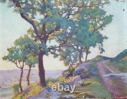 Tableau Peinture Ancienne Paysage, vue de Campagne signée