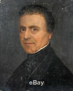 Tableau Peinture Ancienne Personnage Huile XIXème, Homme, Portrait, Prêtre