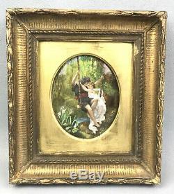 Tableau / Peinture Ancienne Sur Plaque Ovale En Porcelaine A Decor Romantique