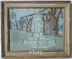 Tableau Peinture Ancienne signé Huile, Paysage, Fontaine, Place, Village, Bleu