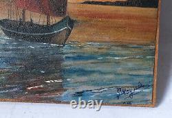 Tableau Peinture Ancienne signé, Marine, Bateaux, Mer, Coucher de Soleil
