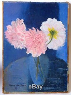 Tableau Peinture Ancienne signé Pierre Pelloux Bouquet de Fleurs, Dahlia