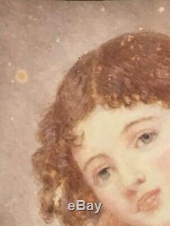 Tableau Peinture Cadre 18è XVIIIè 19è XIXè d'ap. Greuze Portrait Miniature Ancien